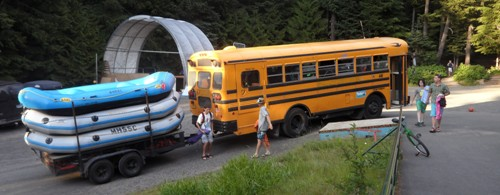 bus with raft trailer