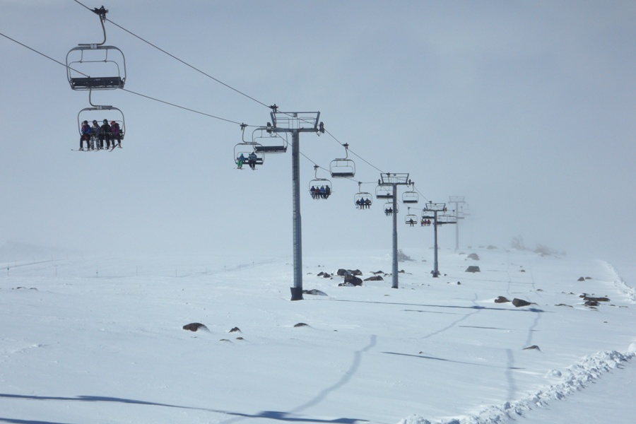 chairlift out of the fog